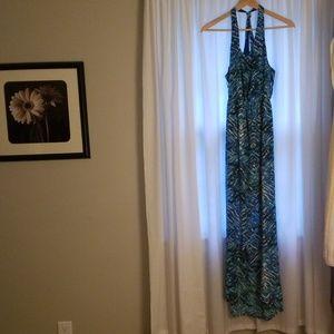 BOGO FREE 🔥Long split front blue dress